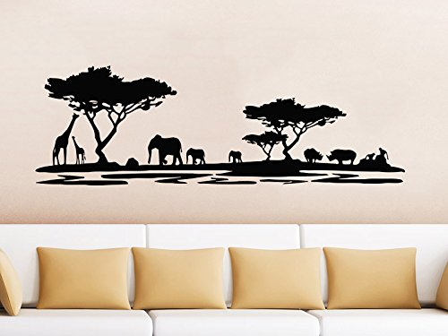 Safari Wall Decal Animals Jungle Safari African Tree Animals Jungle Giraffe Elephant Vinyl Decals Sticker Home Interior Design Art Mural Kids Nursery Baby Room Bedroom Decor (African Safari Pictures compare prices)