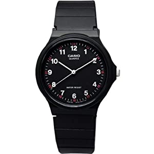 Casio Men's Classic Round Analog Watch, 3-Hand Analog Feature, and Water Resistant, Black Face with Classic Round Design and White Numbers, and Resin Band