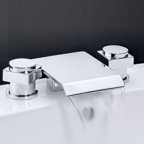 Greenspring Two Handles Widespread Waterfall Bathroom Sink Faucet Chrome Mixer Taps Three Holes Shower Faucets Lavatory Vessel Sink Faucets (Bathroom Waterfall Faucet 3 Hole compare prices)