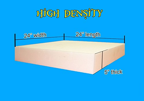 "Best Review Of 5"" x 24"" x 24"" High Density Upholstery Foam Cushion (Seat Replacement ..."