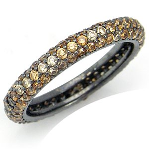 Champagne CZ 925 Sterling Silver Eternity Band Stack/Stackable Ring Size 7