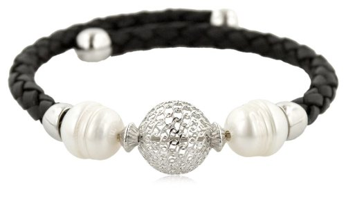 Sterling Silver Openwork Bead and Black Leatherette Freshwater Cultured Pearl Coil Bracelet , 9.75