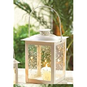 20 LARGE IVORY COLOR GLASS WEDDING LANTERN CENTERPIECES