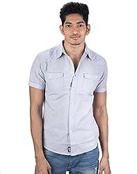 Mavango Stylish Blue Slim Fit Double Pocket Men's Cotton Shirt