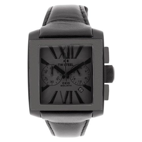 TW Steel CEO Goliath - Reloj cronógrafo de mujer de cuarzo con correa de piel negra (cronómetro)
