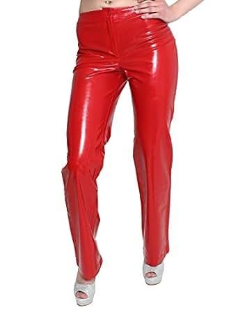 Dungeonz 4628 Classic Damen Lackhose gerader Schnitt Rot Gr. 34