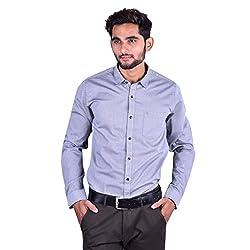 CORTOS Grey Matt Cotton Plain Regular fit formal Solid Shirt (Size: XXX-Large)