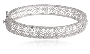 Sterling Silver Diamond Accent Filigree Bangle Bracelet, 7.25'' by Richline Group