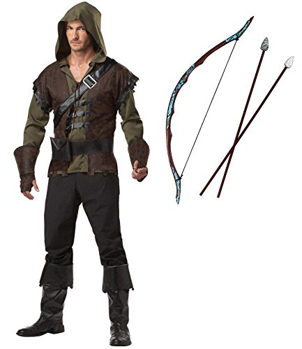 Robin Hood Adult Costume with Bow and Arrow Set (M)