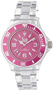 Ice-Watch - PU.PK.S.P.12 - Pure - Montre Femme - Quartz Analogique - Cadran Rose - Bracelet Plastique Transparent
