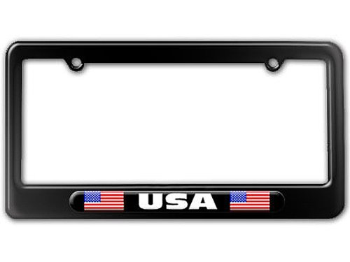 USA Country Flag - Black Double License Plate Tag Frame - Color Gloss Black (American License Plate Frame compare prices)