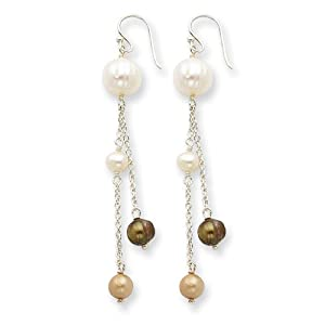 Sterling Silver White/Golden/Champagne Cultured Pearl Earrings