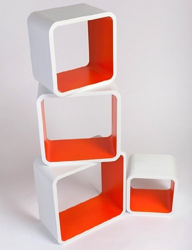 Retro Floating Shelves Bookcase Cubes Shelving NEW - Square White  &  Orange LO02BO