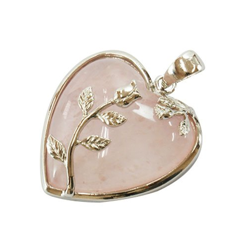 Rose Quartz Heart Pendant 35mm With Silver Plated Leaf Design & Bail HA01010