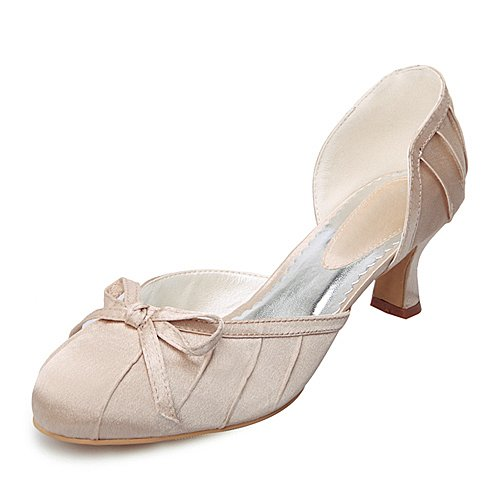 Women's Top Quality Satin Upper Mid Heel Closed-toes With Bow Wedding Shoes/ Bridal Shoes (Size:8.5 B(M) US/Champagne