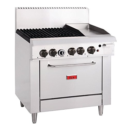 Heavy Duty 4 Burner Natural Gas Oven & Grill Commercial Kitchen Restaurant Cafe