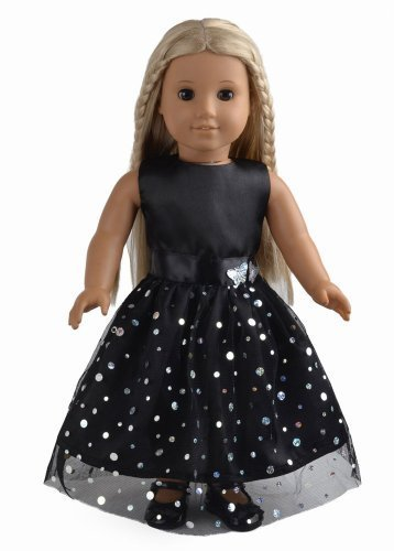Doll Clothes Black Dress With Silver Sequins Fits 18 Inches American Girl Dolls