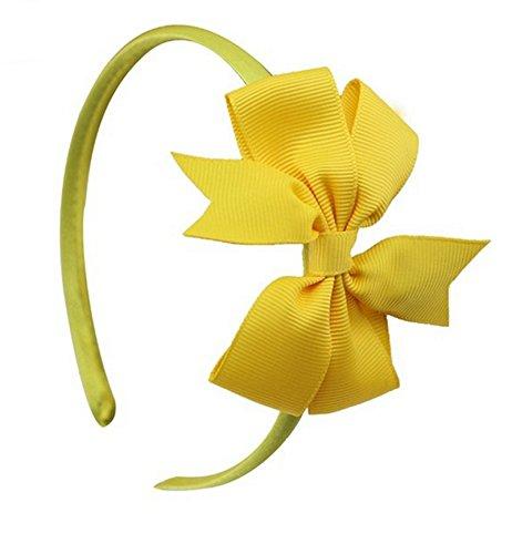 PinkXenia Grosgrain Satin Ribbon Bow BabyGirl Yellow Headband