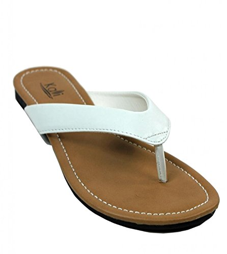 Kali Footwear Womens Cocoa Flat Thong Sandals, White 7