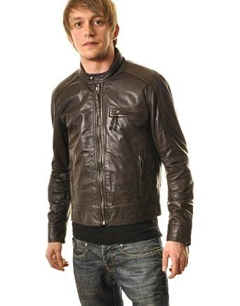 Mens Leather Perforated Biker Jacket : Brown : SR012 Large