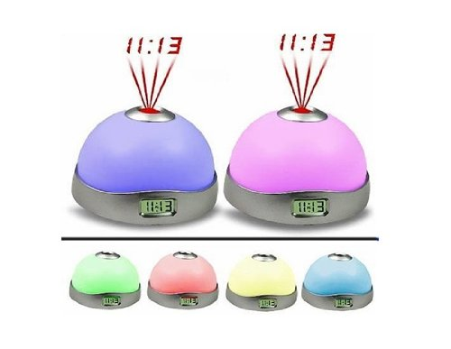 Magic 7 Color Change Led Projector Alarm Clock (White)(Shipping From China)