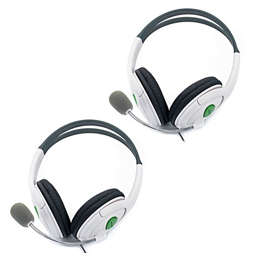 Hde White Gaming Headset With Microphone Mic For Microsoft Xbox 360 - (Set Of 2)