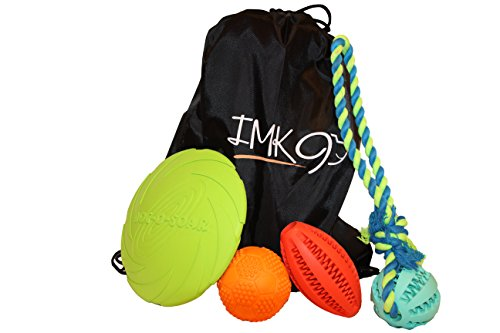 Dog Toys for Small to Medium Dogs. 4-pack Toy Set Includes Rope, Fetch, Teething Toys for Dogs and Puppies. Drawstring Bag Makes A Great Christmas Gift or Doggie Birthday Present. (Colors May Vary)