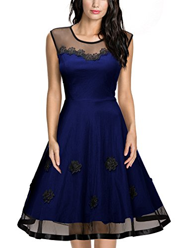 Miusol Women's Elegant Illusion Floral Lace Cap Sleeve Bridesmaid Prom Dress (Large, Navy Blue)