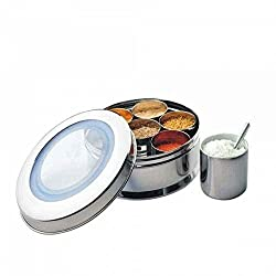 Qualways Stainless Steel Spice box 7 compartments with See-Through Lid and with Measuring Spoon