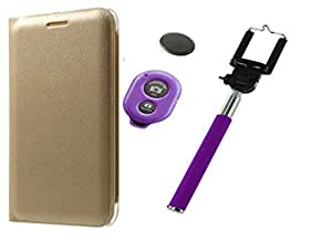Novo Style Motorola Moto G4 Play Folio PU Leather Case Slim Cover with Stand+ Selfie Stick with Adjustable Phone Holder and Bluetooth Wireless Remote Shutter