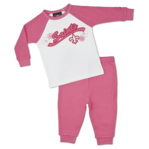 NFL New Orleans Saints Thermal Pajamas (2-Piece), Pink, 0-6 Months at Amazon.com