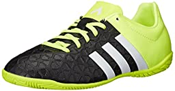 adidas Performance Ace 15.4 Indoor Soccer Shoe (Little Kid/Big Kid), Black/White/Solar Yellow, 2 M US Little Kid