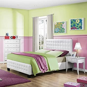 Homelegance Sparkle 3 Piece Upholstered Bedroom Set In White Bi-Cast Vinyl