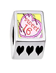 Soufeel Sweet 16 Birthday Cake Photo Heart European Bead Charm Fits Pandora Chamilia Troll Biagi Bracelets
