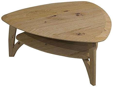 Continuo-Living 11255 Couchtisch Wohnzimmertisch Brava 66, normaler Wankel, mit Holzplatte, 98 x 76 x 44 cm, massiv Wildeiche geölt
