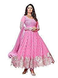 Samay Creation Pink Georgette Embroidered Semi-stitched Anarkali Dress Material