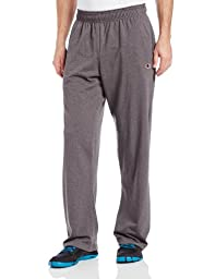 Champion Men\'s Open Bottom Light Weight Jersey Sweatpant, Granite Heather, Large