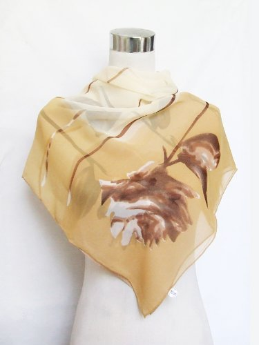 Georgette Hand Sewn Dark Brown Floral Print on Camel - Silk Square Scarf 34 x 34