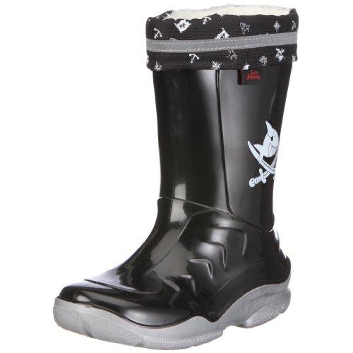 Captn-Sharky-120030-Jungen-Halbschaft-Gummistiefel-Schwarz-schwarzsilber-30-EU