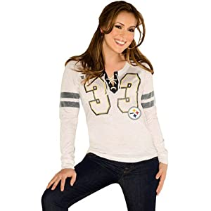 NFL Touch By Alyssa Milano Pittsburgh Steelers Ladies Kickoff Lace-Up Long Sleeve T-Shirt - Cream