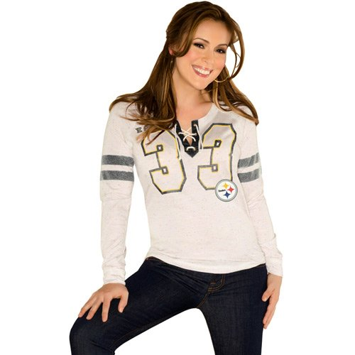 479a872b6 Get the NFL Touch By Alyssa Milano Pittsburgh Steelers Ladies Kickoff  Lace-Up Long Sleeve T-Shirt - Cream at SteelerMania