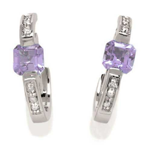 Vintage Women's Earrings in White 9k Gold with Amethyst and Diamond H/SI (total diamonds 0.08 ct), 4.6 Grams