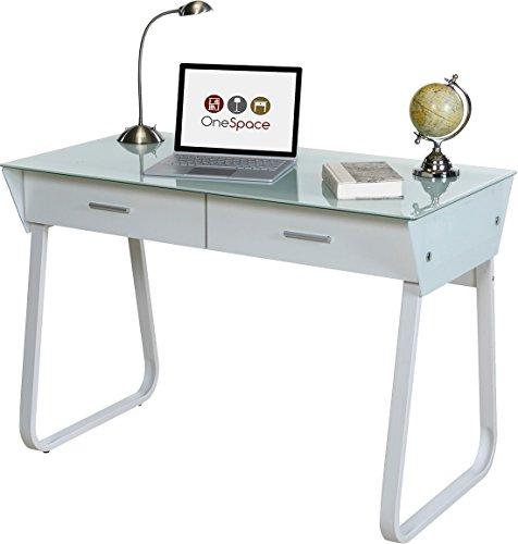 OneSpace 50-JN1301 Ultramodern Glass Computer Desk with Drawers, White (Small Glass Desk With Drawers compare prices)