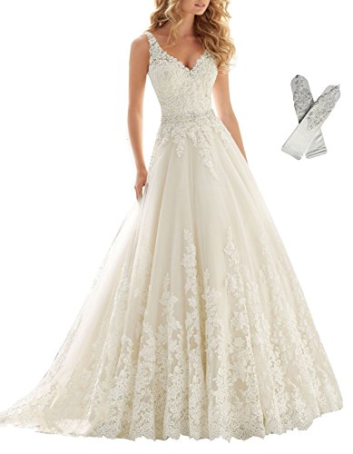 Datangep Women's 2016 White Double V-Neck Lace Applique Straps Chapel Train Wedding Dresses for Bride US14