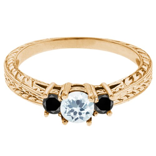0.57 Ct Round Sky Blue Topaz Black Diamond 14K Yellow Gold 3-Stone Ring
