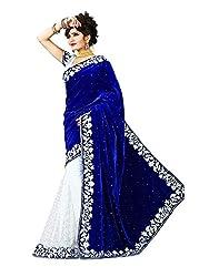 WXW Fashion Women's Velvet Saree with Blouse Piece(WXWAZ2400_Blue)
