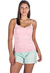 Noble Mount Womens Premium Cotton Poplin Shorts and Cami Sleep Set