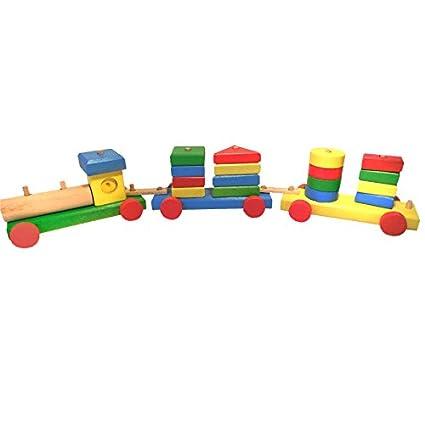 Jouet en Bois pour Enfants Train avec un Moteur et deux Wagons Total 30 Pièces incluant 19 Blocs de Construction Colorés