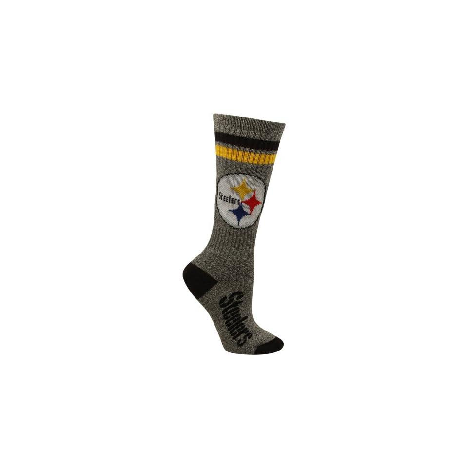 NFL Pittsburgh Steelers Womens Marbled Two Stripe Crew Socks   Charcoal