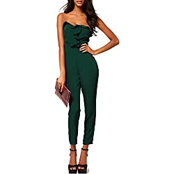 ABILIO - Tuta fascia volants donna elegante overall nera jumpsuit verde  donna rompers VERDE L 9759ac7ac52